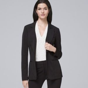 WHBM Essential Blazer in Black - Satin Finish Trim
